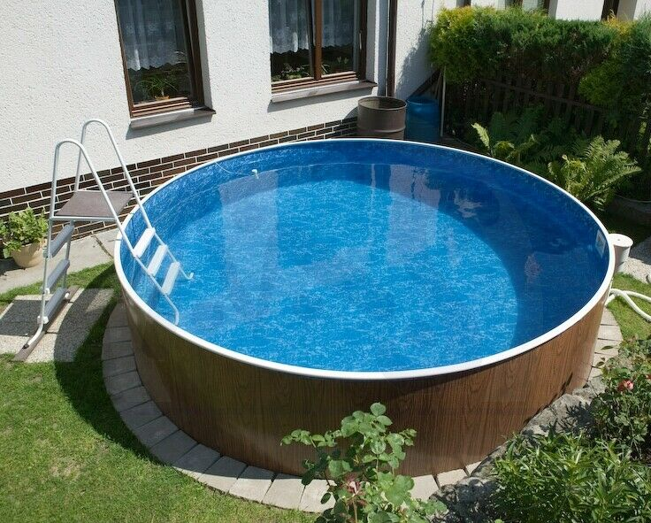 schwimmbecken holzoptik 4 60 x 1 20 m pool rundpool poolfolie swimmingpool ebay. Black Bedroom Furniture Sets. Home Design Ideas