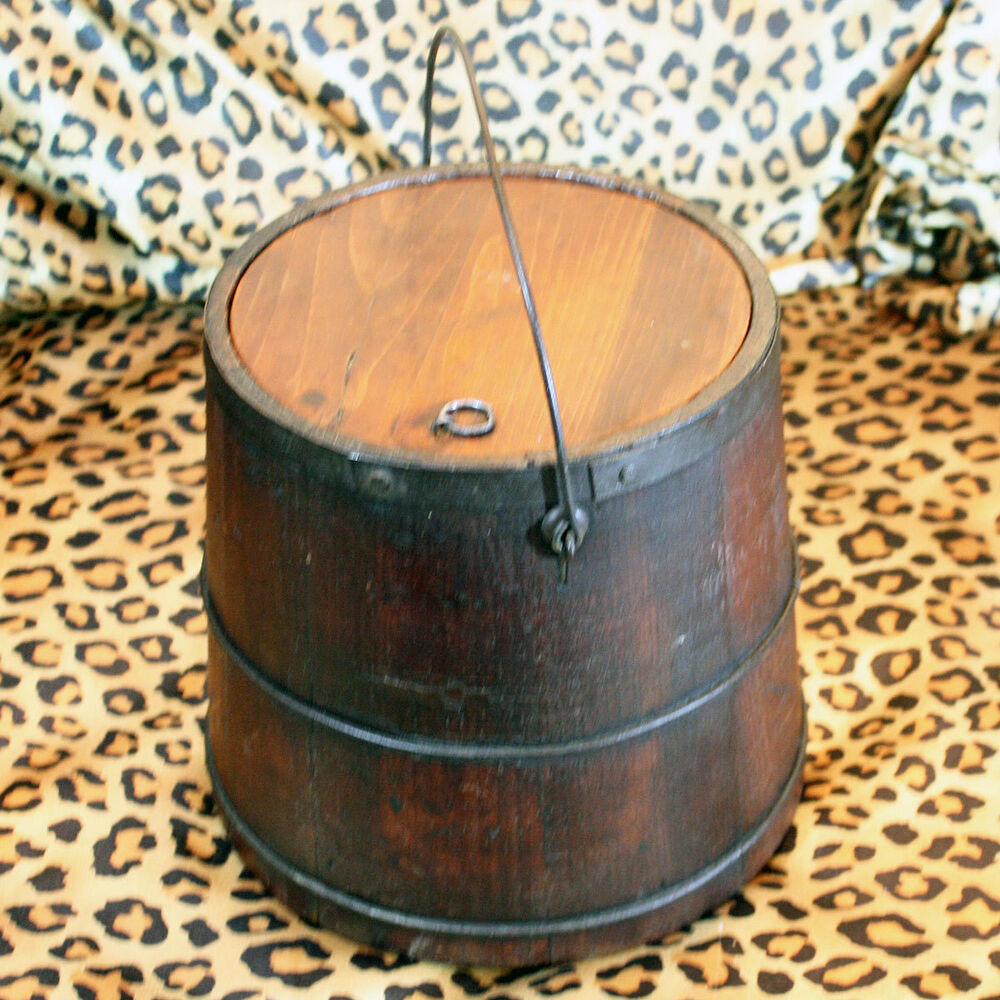 Antique primitive wood bucket pail with lid metal bands ebay for Old metal buckets