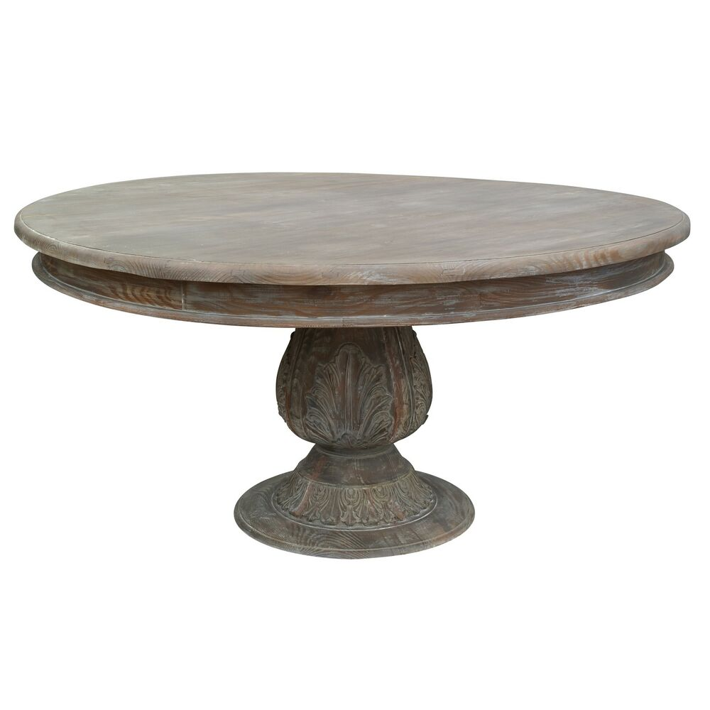 French Country Round Dining Table: French Country Style Washed Round Pedestal Acorn Large