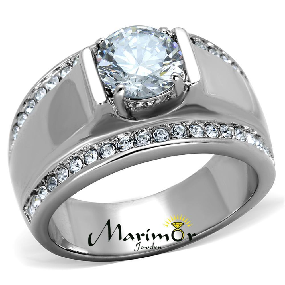 men 39 s ct round cut simulated diamond silver stainless steel ring sizes 8 13 ebay. Black Bedroom Furniture Sets. Home Design Ideas