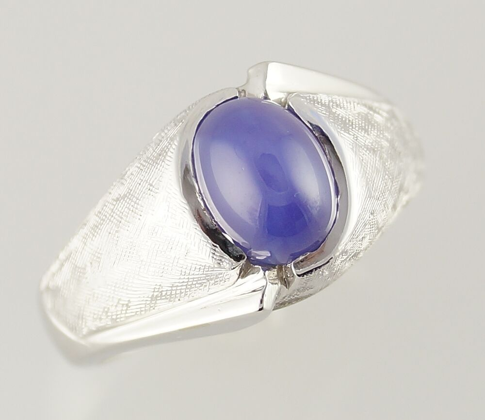 14k White Gold Star Sapphire Men S Ring Ebay