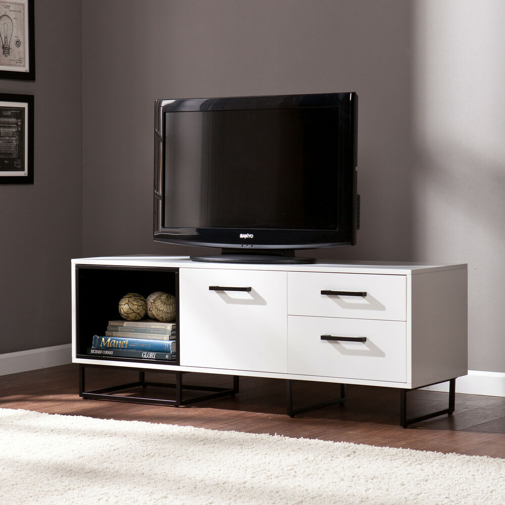 Milo media tv stand cabinet console w drawers white black White media console