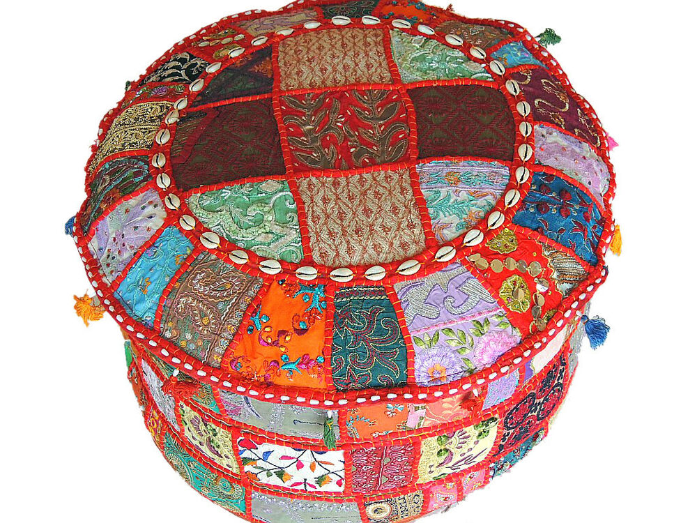Indian Pouf Ottoman Multicolor Patchwork Big Round