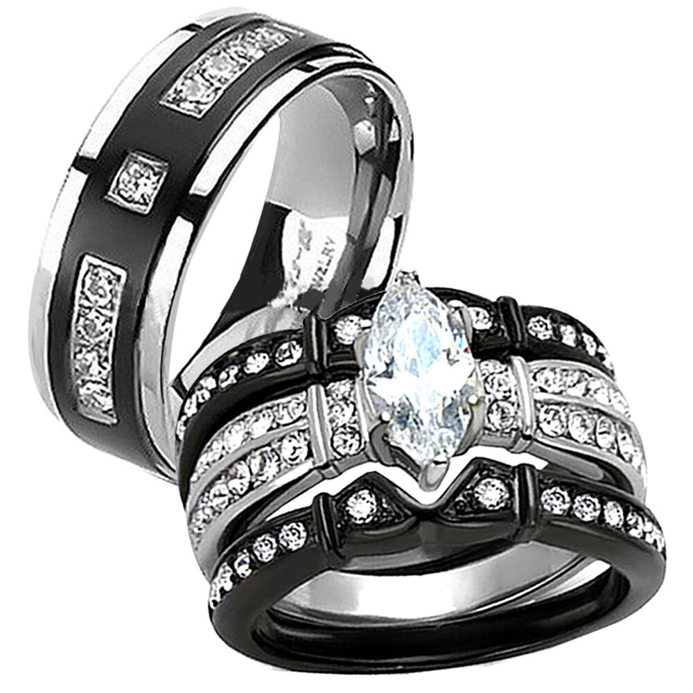 His hers black stainless steel titanium wedding engagement ring band