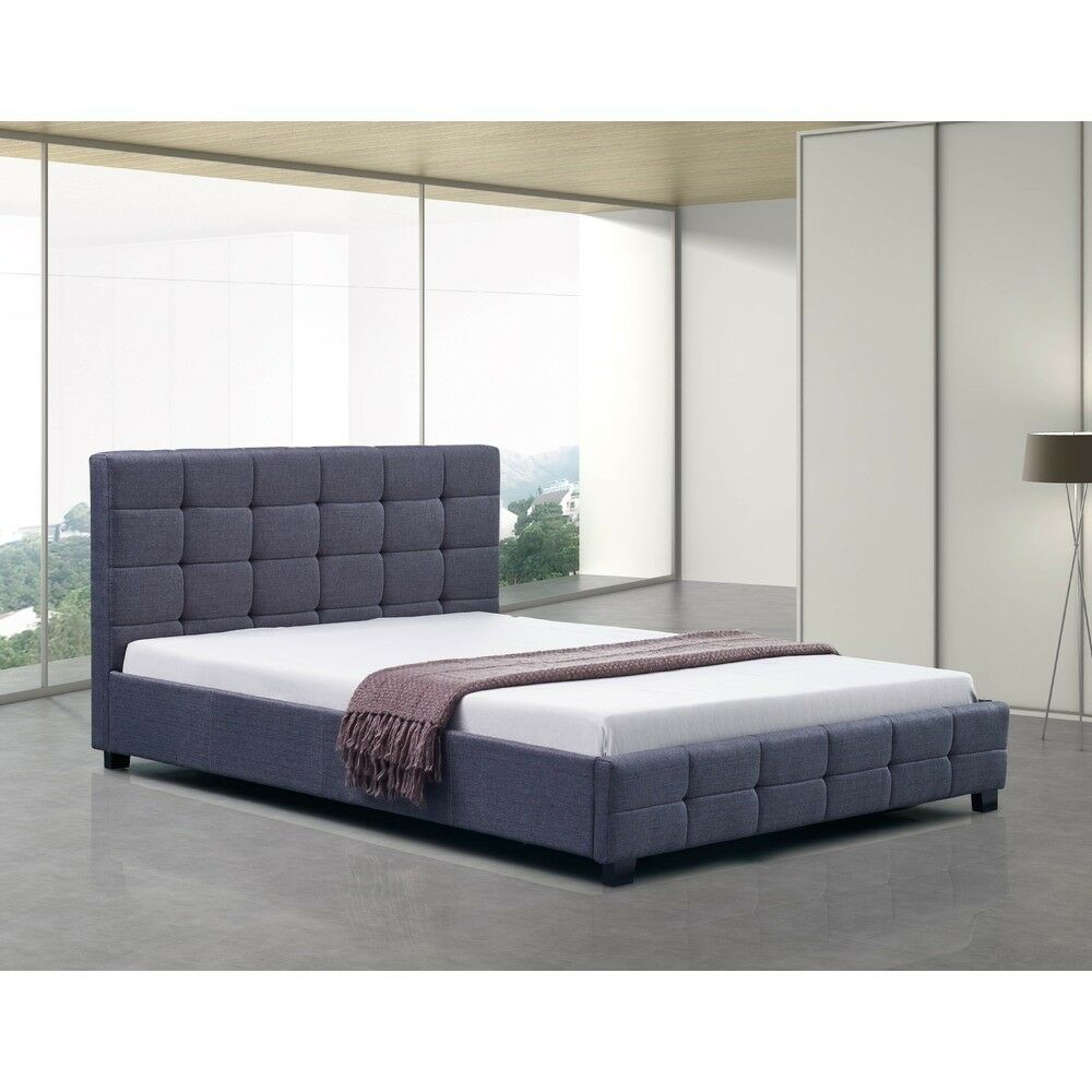 Linen Fabric Queen Deluxe Bed Frame Grey Ebay
