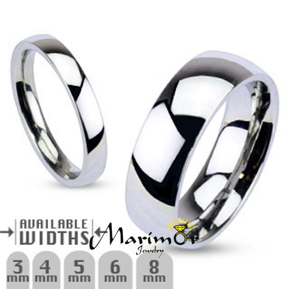 Wedding Band Stainless Steel 8mm: 316L Stainless Steel High Polished Wedding Band Ring 3mm