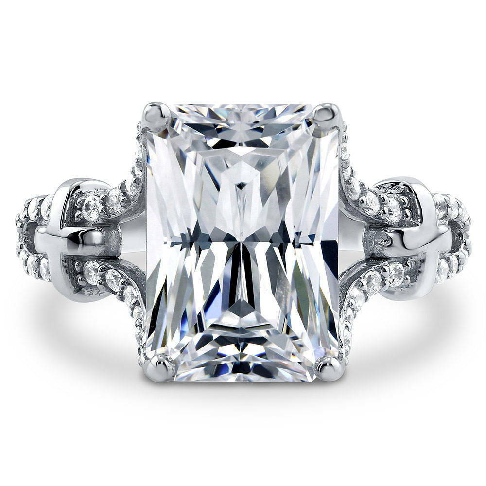 Berricle Sterling Silver Radiant Cut Cz Solitaire Engagement Ring 7 94 Carat Ebay