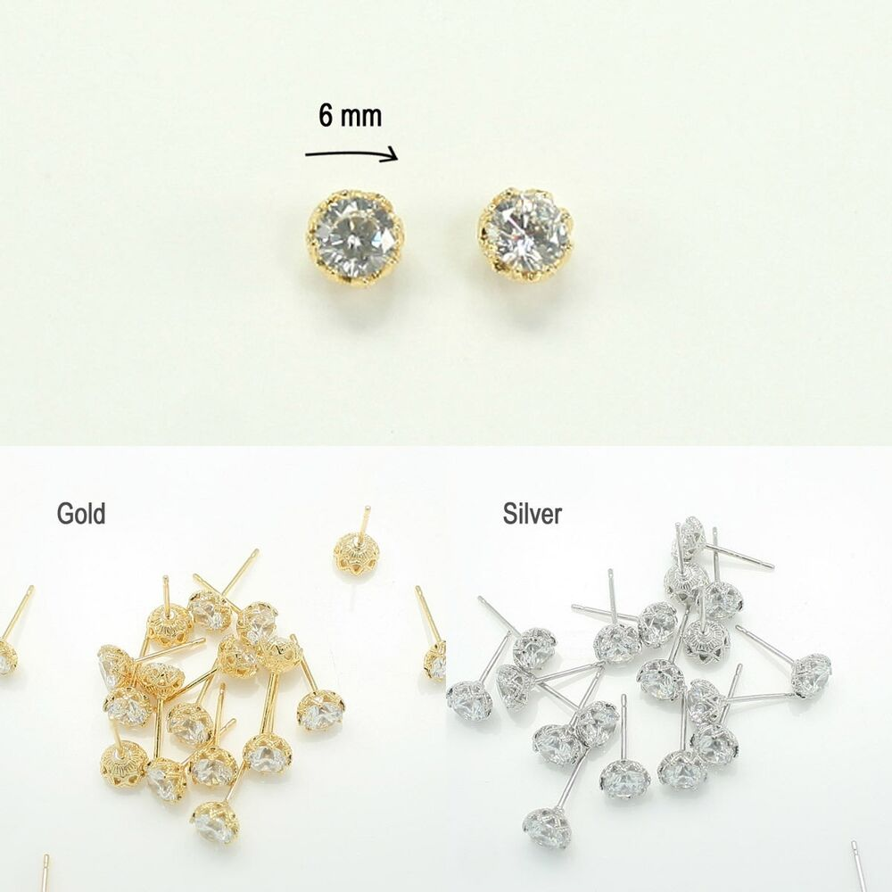 Earring findings rhinestone glossy earring stud jewelry for Earring supplies for jewelry making