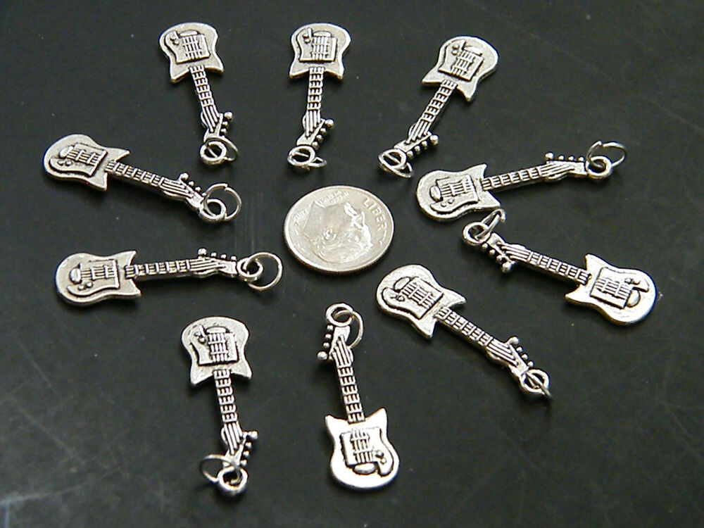 10 pieces guitar charms rock roll bass guitars with rings diy 10 loose new ebay. Black Bedroom Furniture Sets. Home Design Ideas
