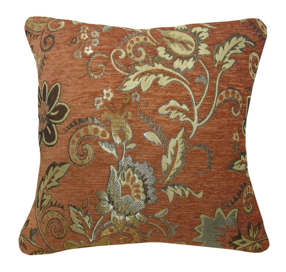 Brown Chenille Throw Pillows : Wd39Ca Reddish Brown Damask Chenille Daisy Throw Cushion Cover/Pillow Case*Size eBay