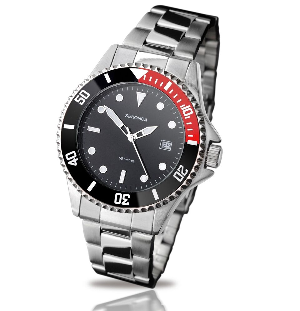 Sekonda black dial stainless steel bracelet gents mens watch 3078 ebay for Stainless steel watch