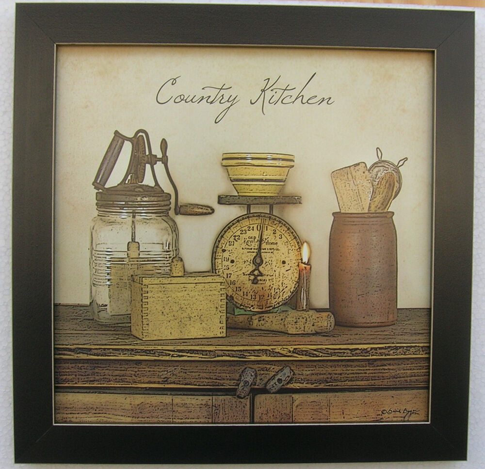 Country Kitchen Primitive Print Antique Scales Framed