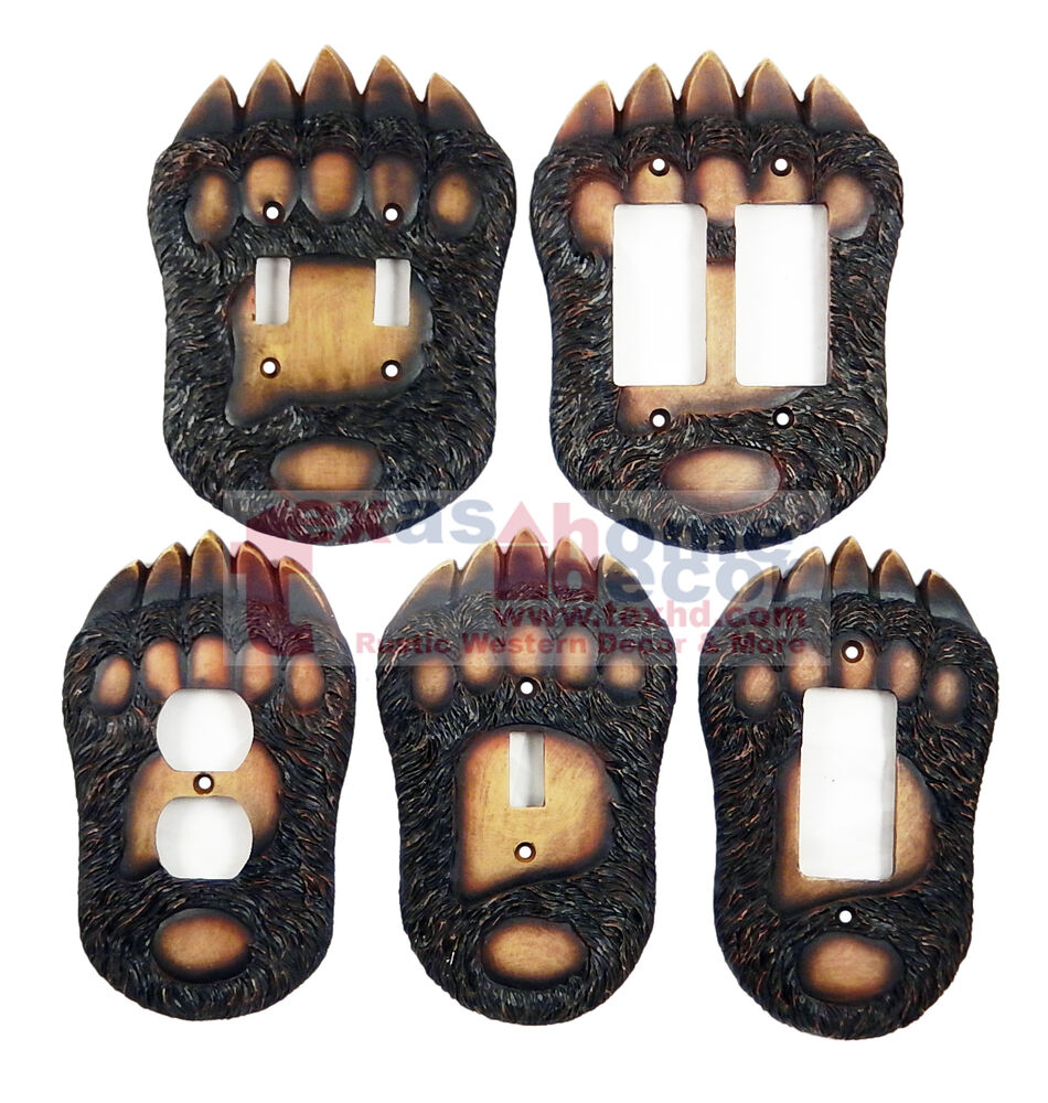 Bear Switch Plate Covers Claw Paw Cabin Lodge Decor Outlet