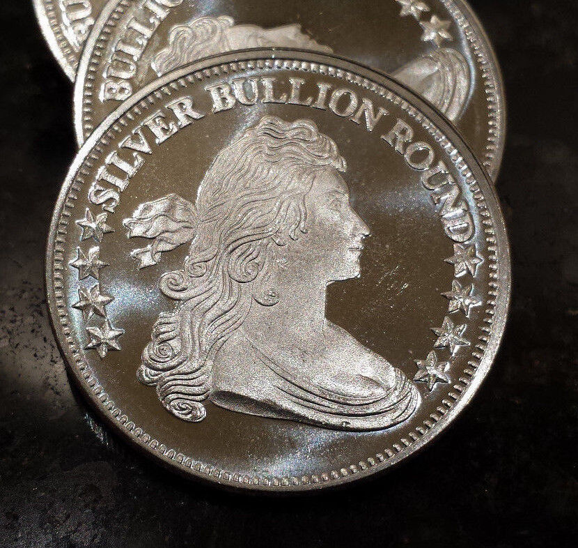 Qw2 1 Oz Silver Round Liberty Draped Bust Design 999