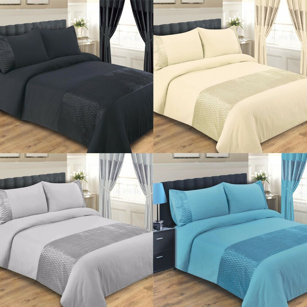 duvet cover bed set double king super king size black cream teal silver emerald ebay. Black Bedroom Furniture Sets. Home Design Ideas