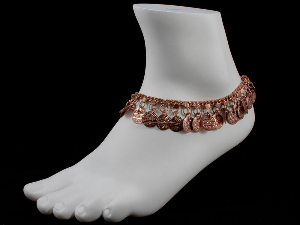 anklet ankle bracelet chain jewelry copper tone with