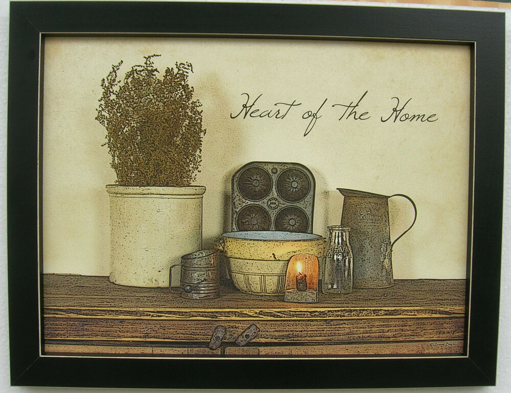 Heart Of The Home Primitive Art Framed Country Picture