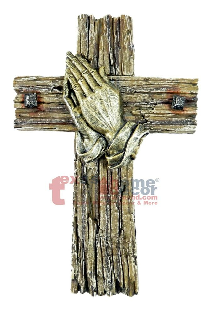 Praying Hands Decorative Wall Hanging Cross Faux Wood Look
