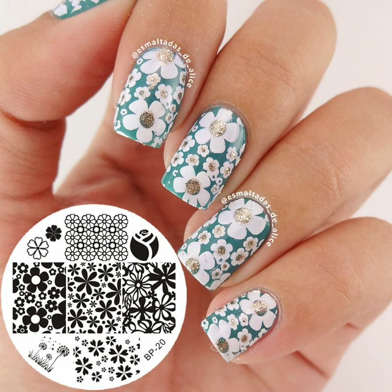 Nail Art Stamping Stamp Plate Mixed Flower Image Template BORN PRETTY 20  eBay