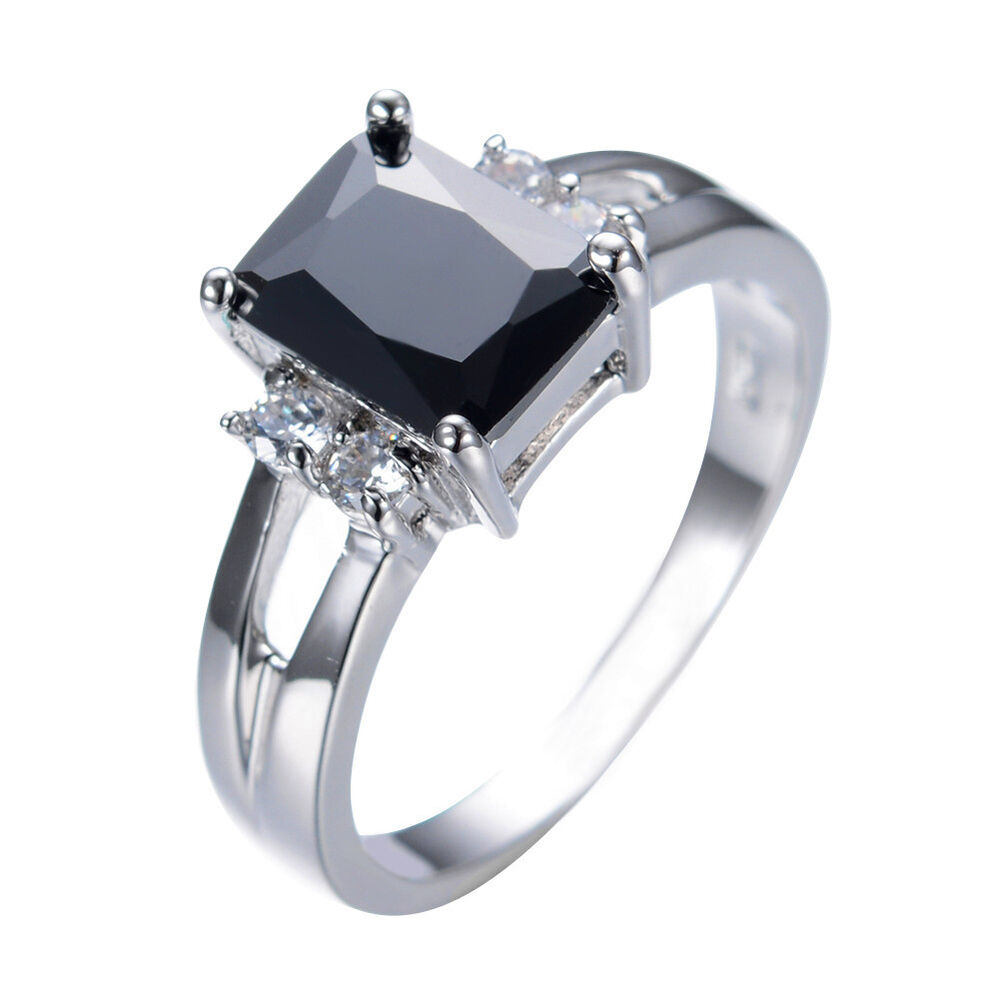 Size 5 11 Black Sapphire Wedding Band Ring 10KT White Gold Filled Party Jewel