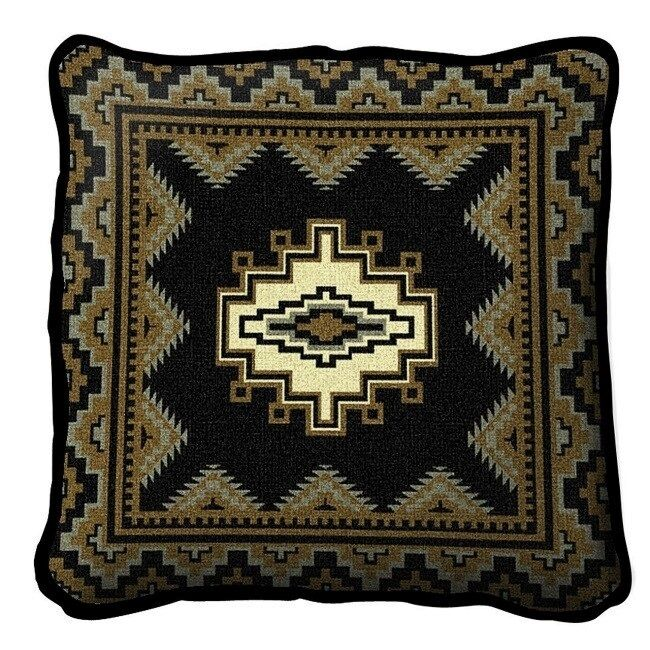 SOUTHWEST INDIAN DESIGN WESTERN BLACK GOLD BUTTER TAPESTRY THROW PILLOW 17x17 eBay