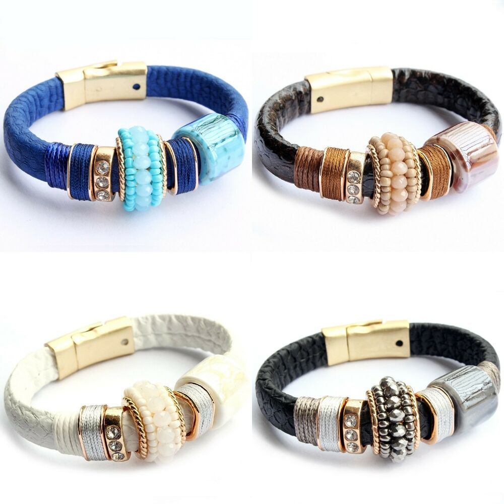 New Gold Plated Rhinestone Leather Natural Stone Women ...