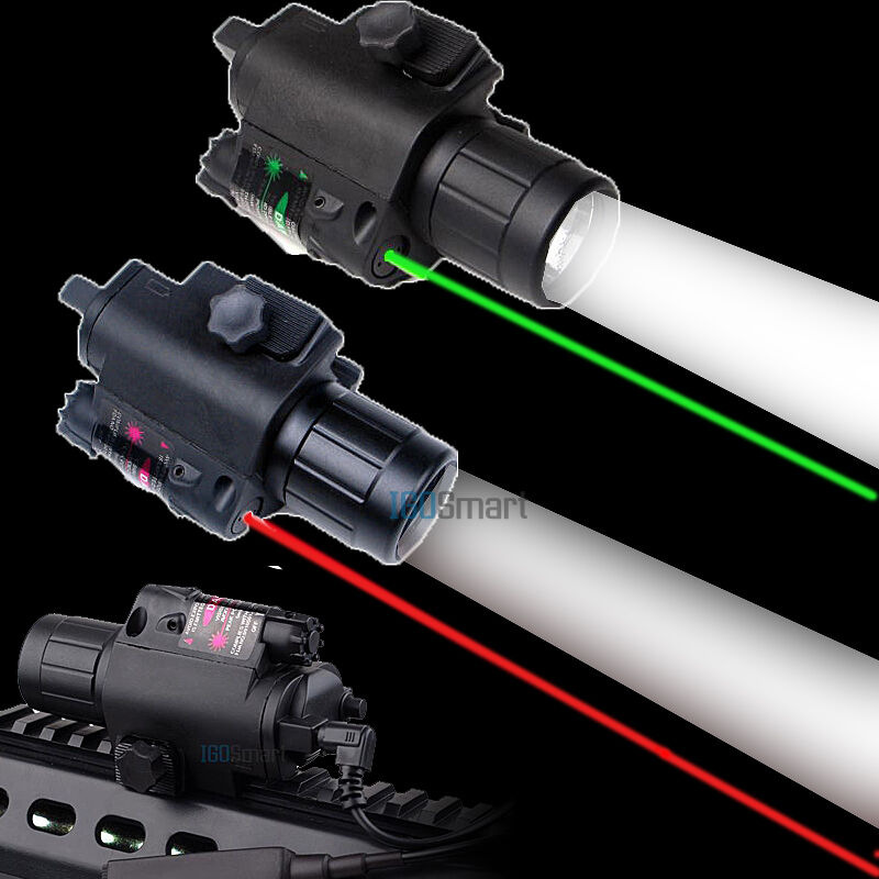 Tactical Green Red Laser Sight Led Flashlight Combo For