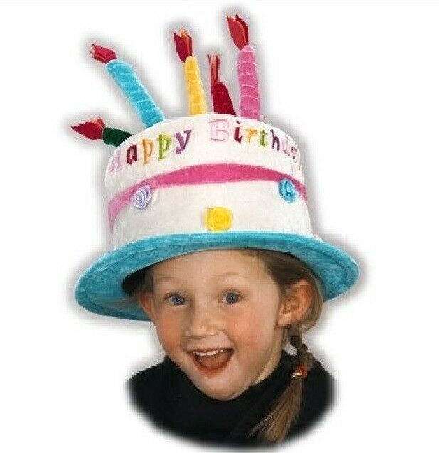 Happy Birthday Cake With Candles Hat For Kids Velvet Satin