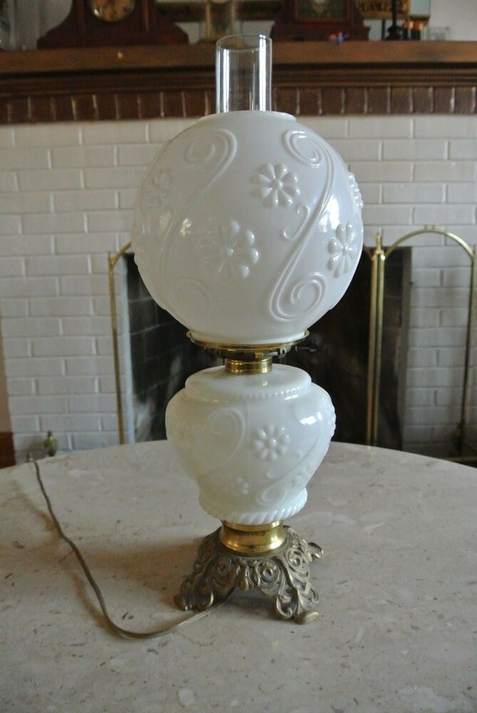 Vintage Milk Glass Gwtw Banquet Oil Lamp Electrified Ebay