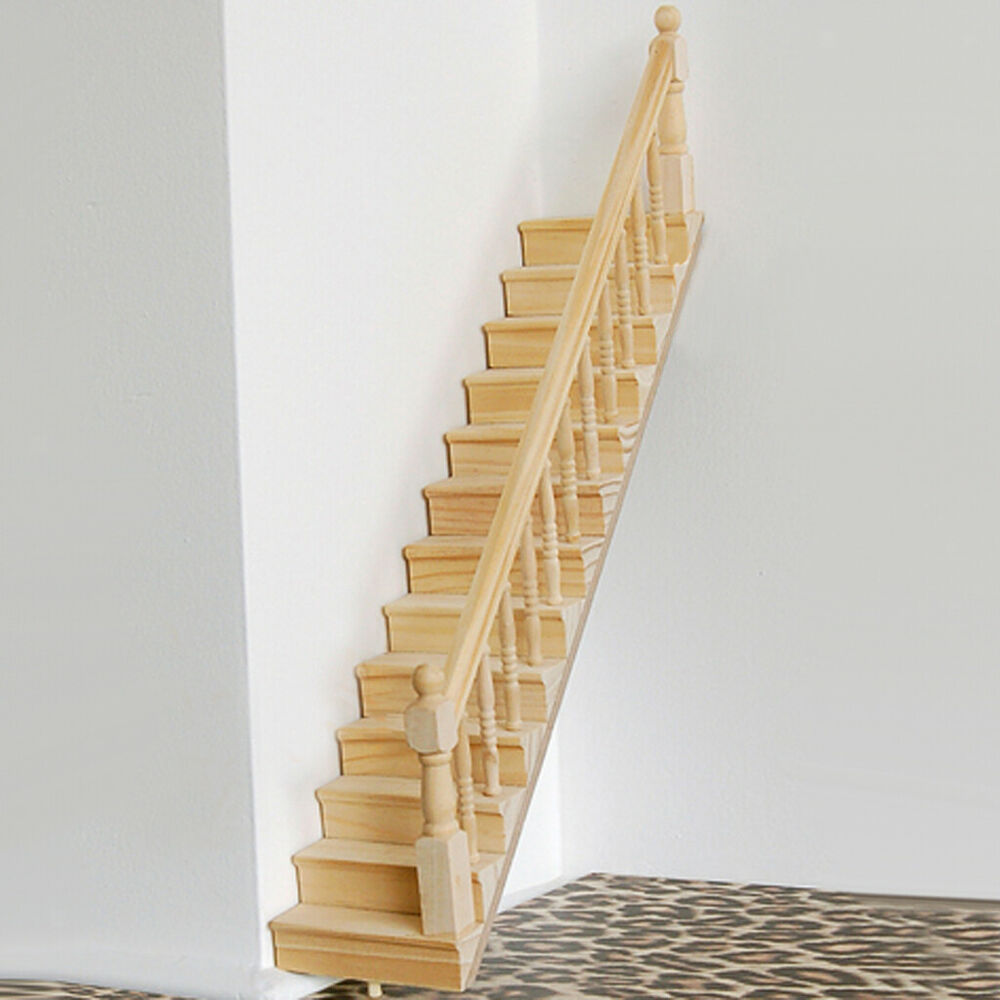 Dolls house wooden staircase stair stringer step w right for Pre made spiral staircase