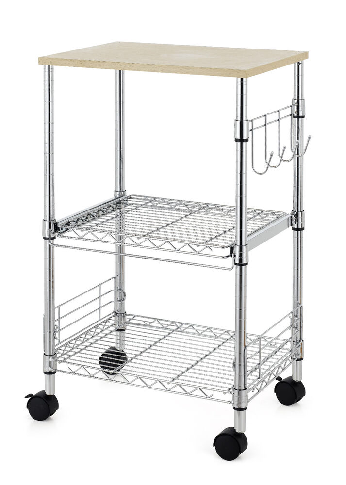 Chrome 3 Tier Wire Rolling Kitchen Cart Utility Food Service Microwave Stand K35 Ebay