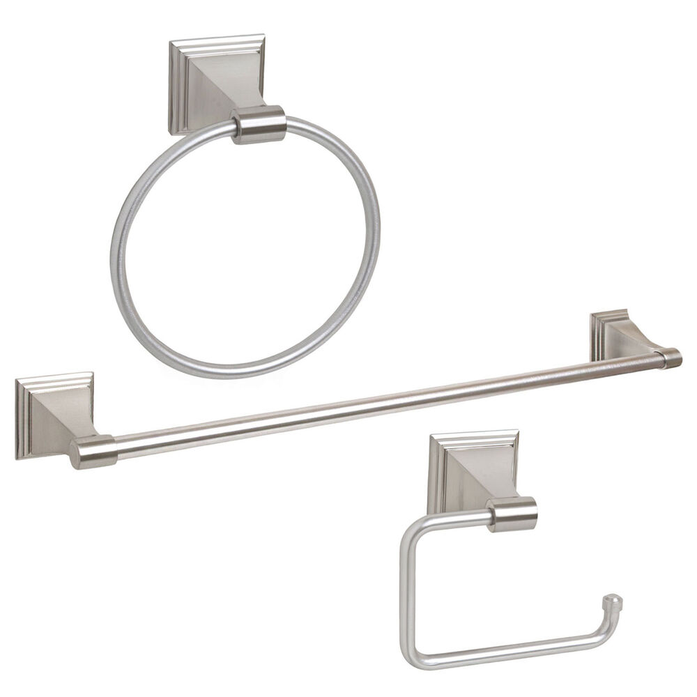 Satin Nickel 3 Piece Bath Accessories Hardware Towel Bar Paper Holder Set Ebay