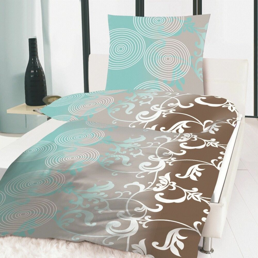 bettw sche 2 teilig microfaser 135x200 cm aqua ornament t rkis braun weiss grau ebay. Black Bedroom Furniture Sets. Home Design Ideas