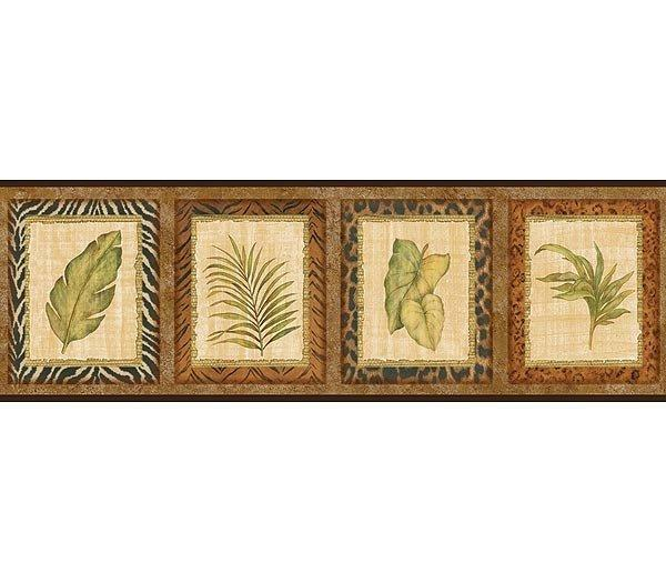 Decorative Wall Paper Trim : Wallpaper border designer palm leaves in animal print