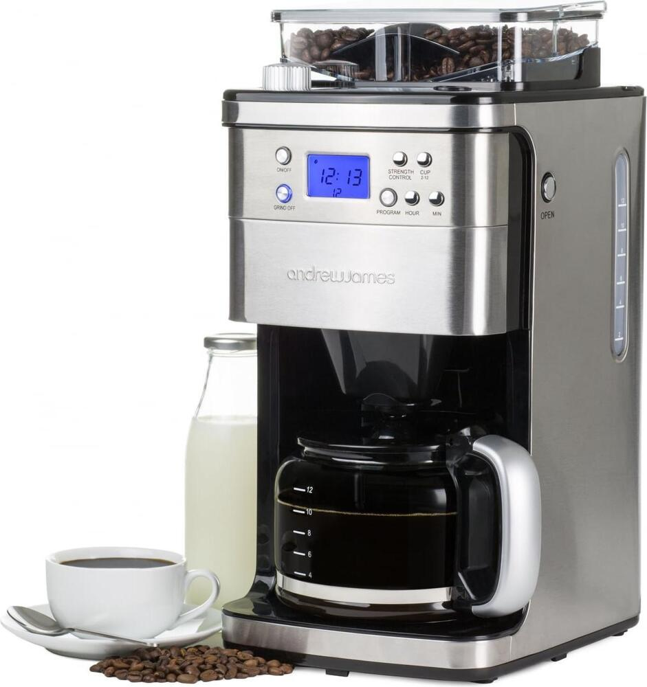 Coffee Maker Built In Filter : Andrew James 12 Cup Filter Coffee Maker Machine Timer + Integrated Bean Grinder eBay