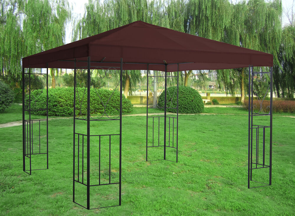 3x3m metal gazebo pavilion canopy sun shade shelter for Metal sun shade structures