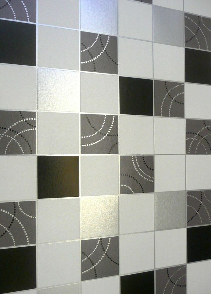 Dotty wallpaper kitchen bathroom black silver tile effect for Tile effect bathroom wallpaper