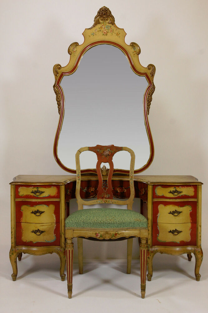 Antique Robert W Irwin Hand Painted Vanity Desk Chair