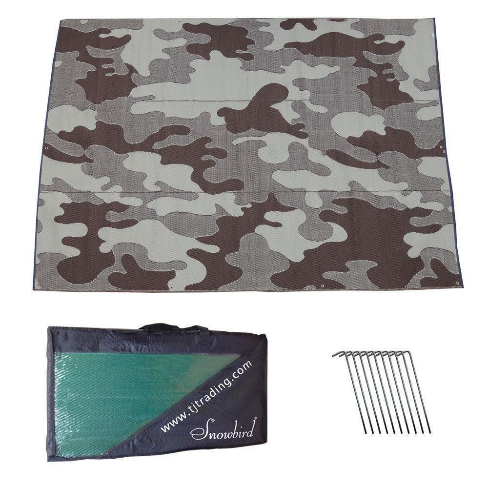 RV Patio Awning Mat Outdoor 9x12 Brown Tan Camoflage