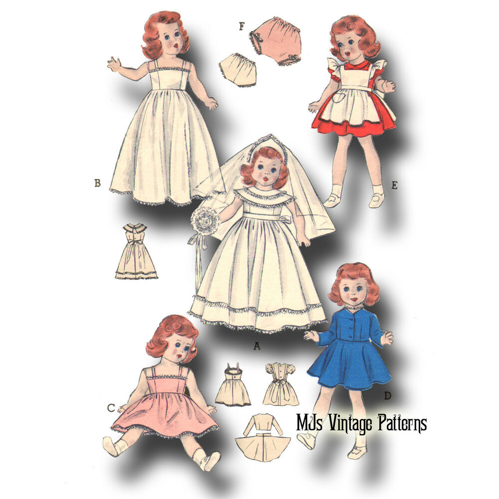 "Vtg 50s Doll Clothes Wedding Dress Pattern ~ for 15"" 16 ..."