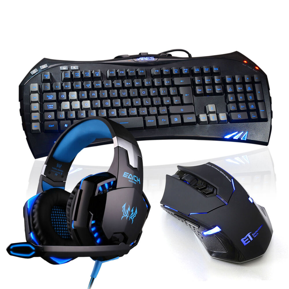 gaming led backlit keyboard and 2 4g wireless mouse mice with headset microphone ebay. Black Bedroom Furniture Sets. Home Design Ideas