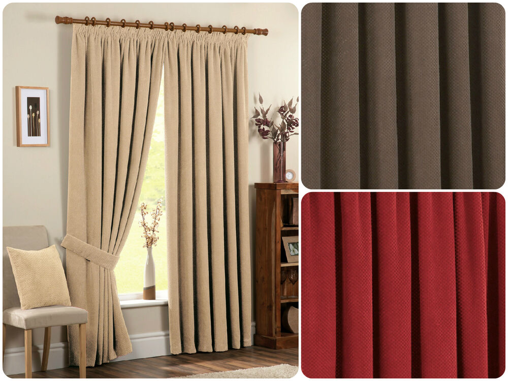 chenille spot pencil pleat thermal ready made curtains. Black Bedroom Furniture Sets. Home Design Ideas