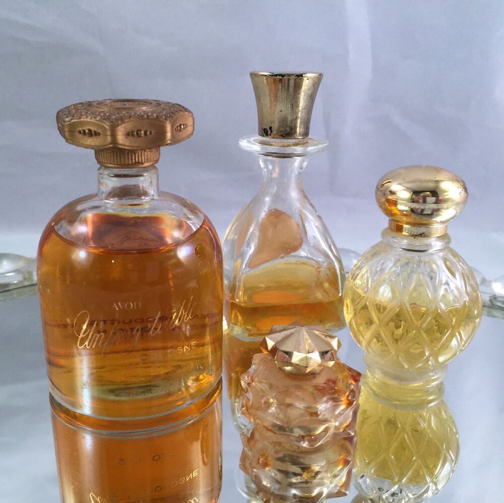 Fragrances Perfume Bottle And Perfume Bottles: SET OF 4 VINTAGE AVON COLLECTIBLE PERFUME/COLOGNE BOTTLES WITH GOLD LIDS