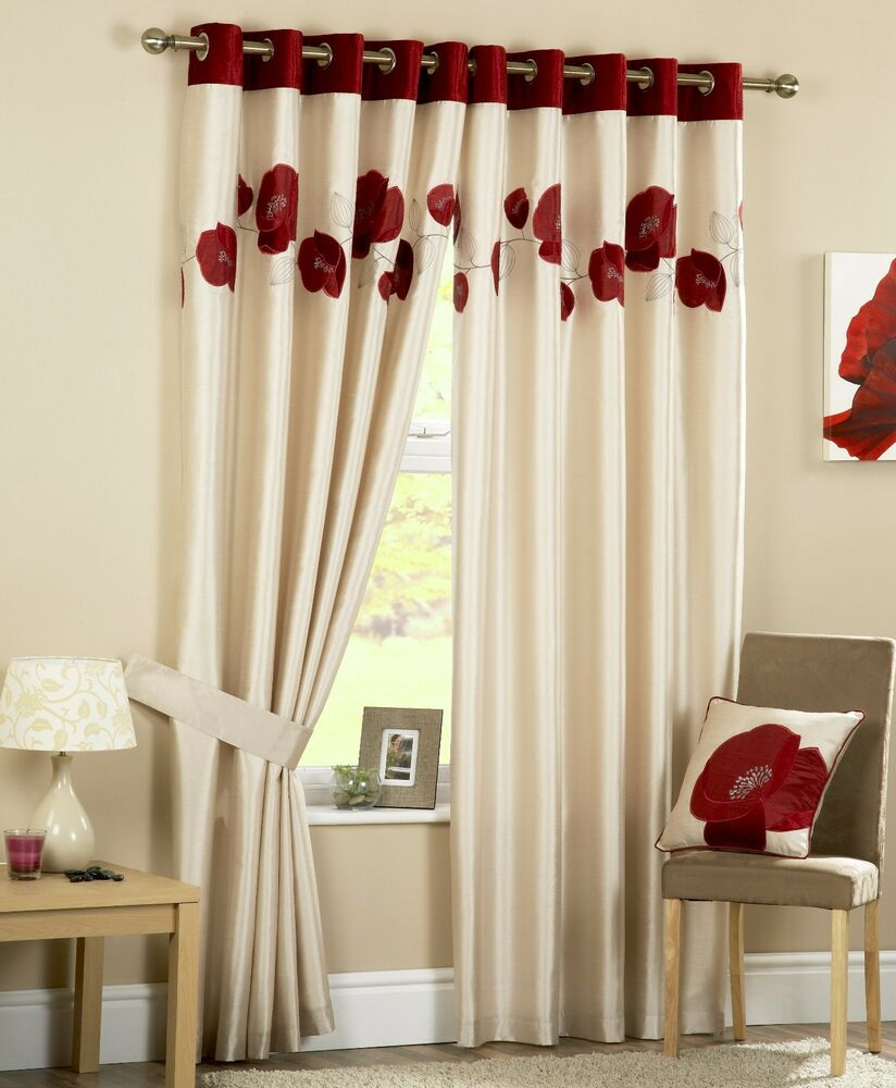 Kitchen Curtains Amazon Co Uk: Danielle Eyelet Ring Top Lined Curtains Embroidered Poppy