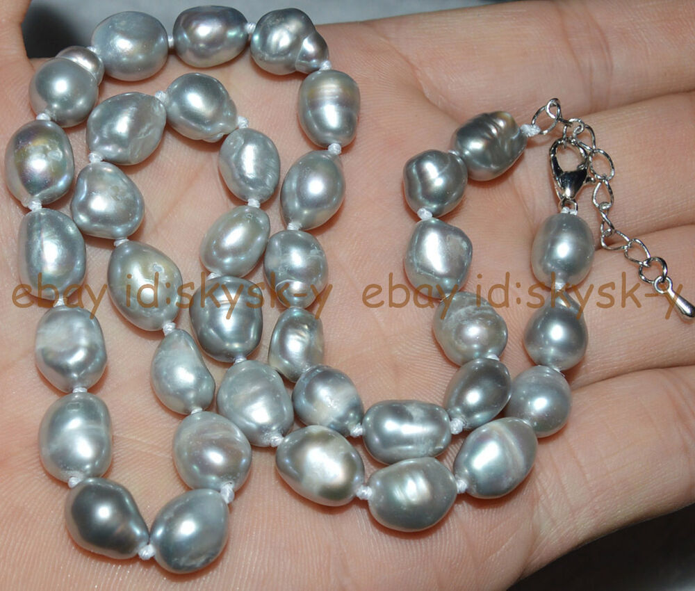 Natural 9 10mm Baroque Silvery White Freshwater Pearl