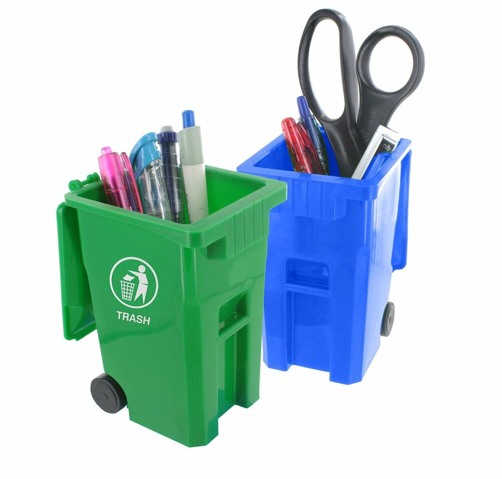 Trash and Recycle Can Set Pencil Cup Holder Desk Organizer | eBay
