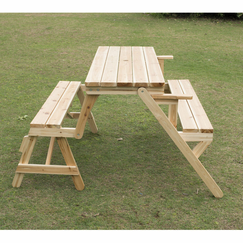Outsunny Patio 2 In 1 Outdoor Interchangeable Picnic Table Garden Bench Wood Ebay