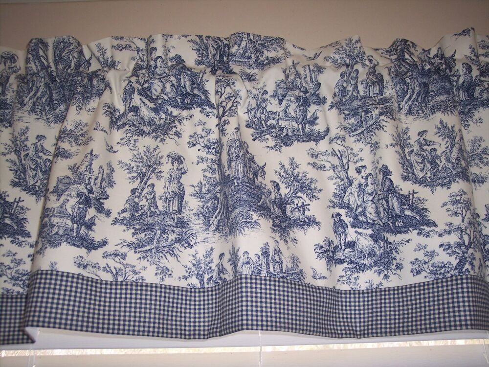 Navy On White Waverly Rustic Toile W Gingham Ck Trim Straight Valance Curtains Ebay