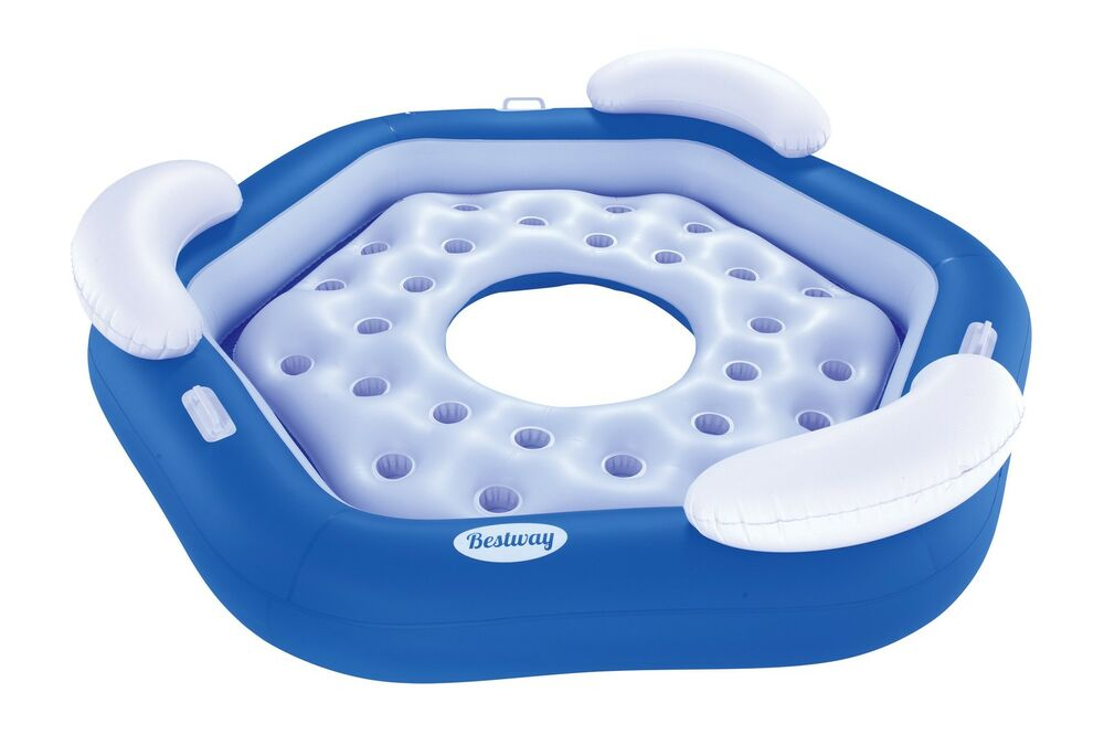 Bestway 3 Person Floating Water Island Lounge Raft With