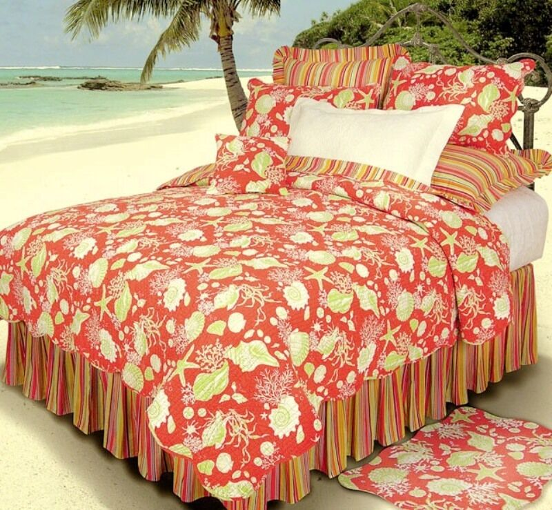 Red Coral Shells Twin Quilt Set Green Tropical Beach